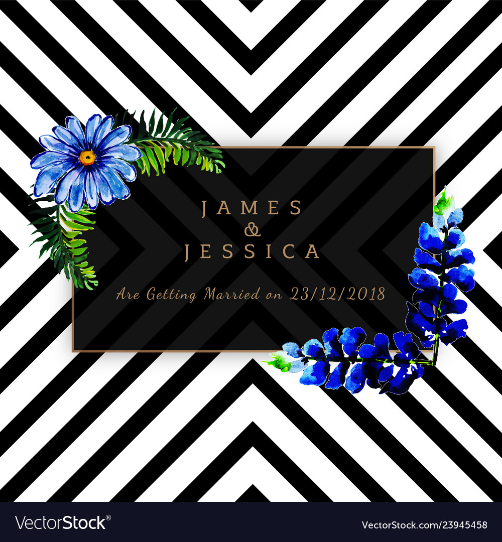 Watercolor floral wedding invitation with stripes