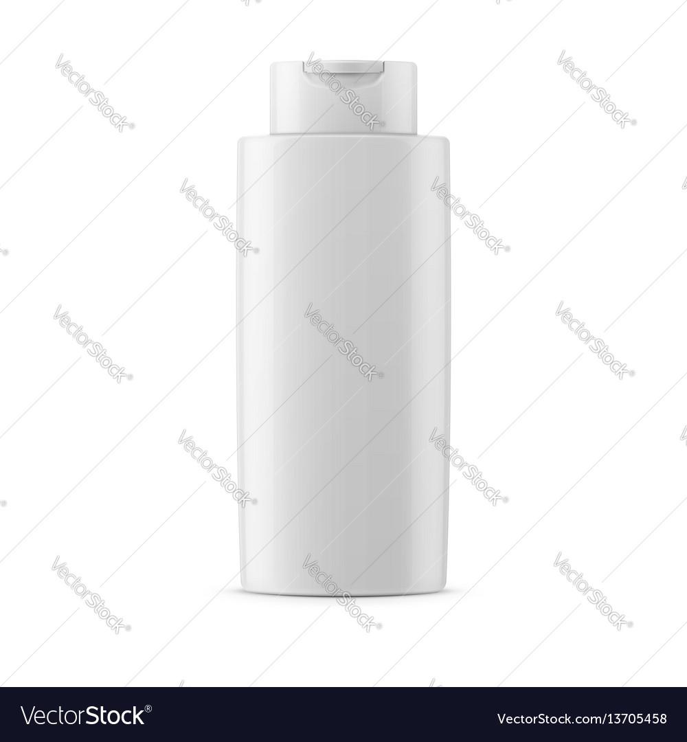 White glossy shampoo bottle template vector image