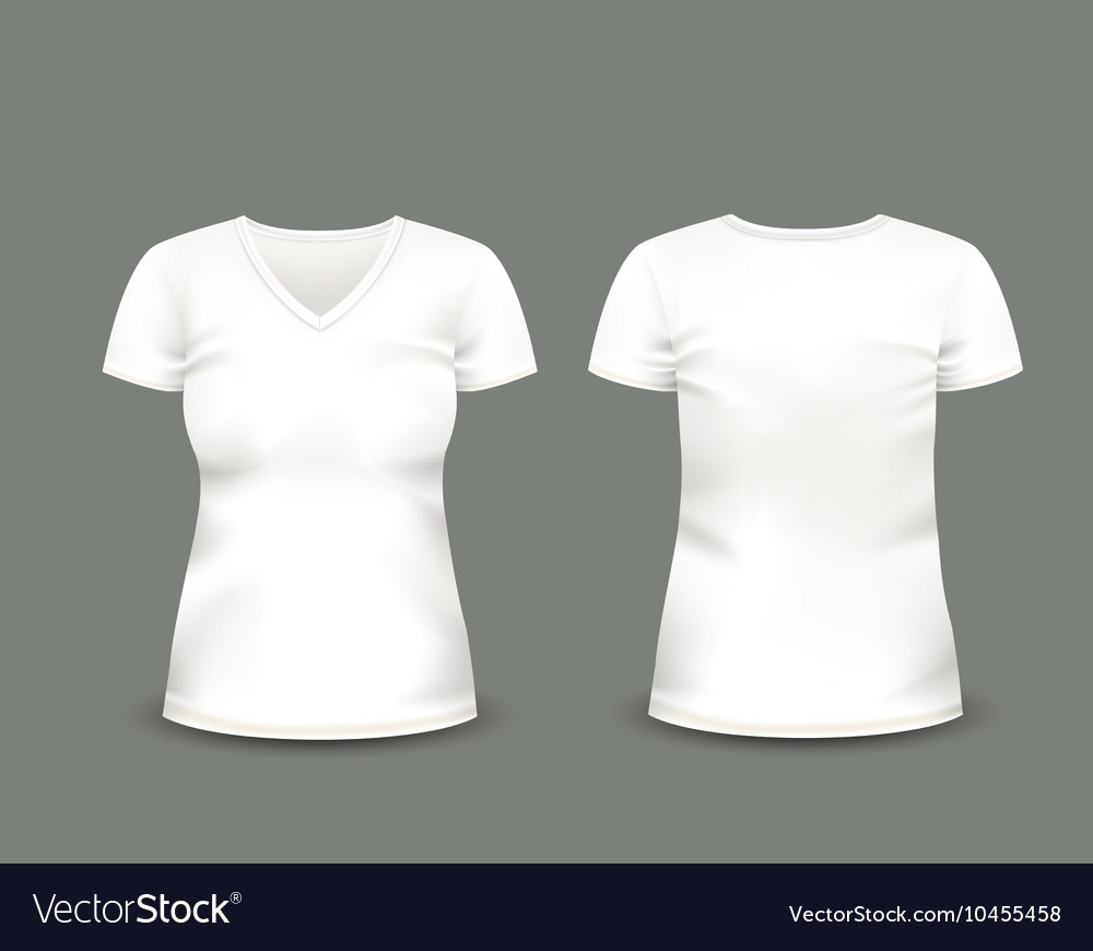 0d3838c0369e White V-neck t-shirt template Royalty Free Vector Image