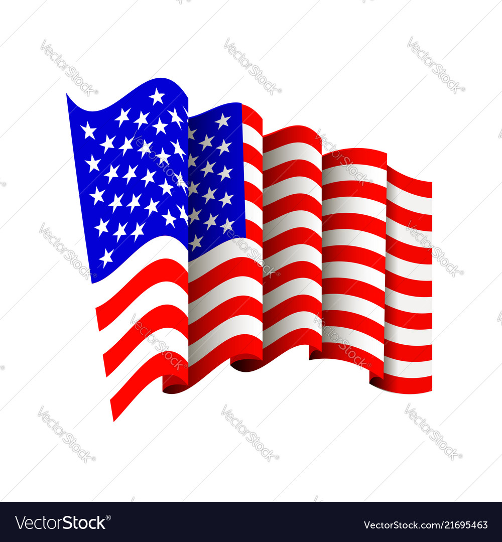 American flag icon isolated waving icon of united