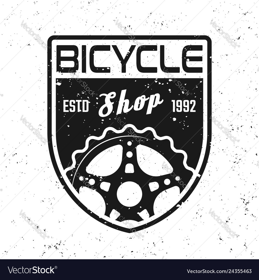 Bicycle shop shield emblem badge label