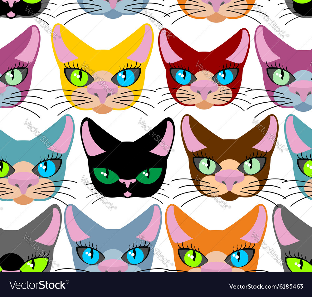 Cats seamless pattern Many different pets