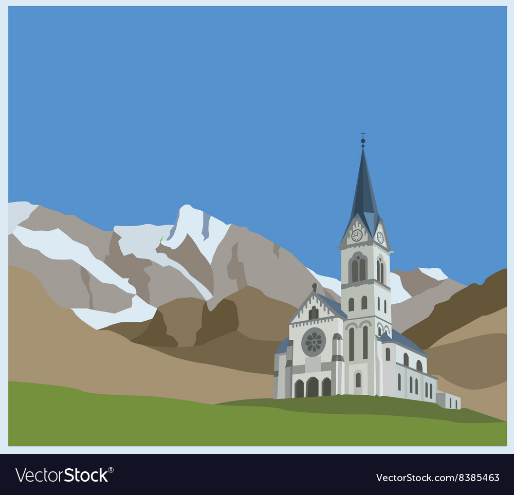 City buildings graphic template Slovenia landscape