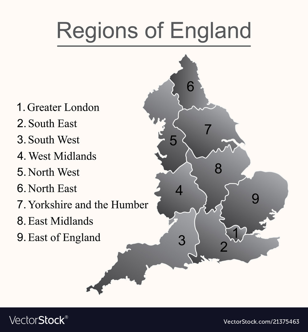 Dark map of england with outline on white