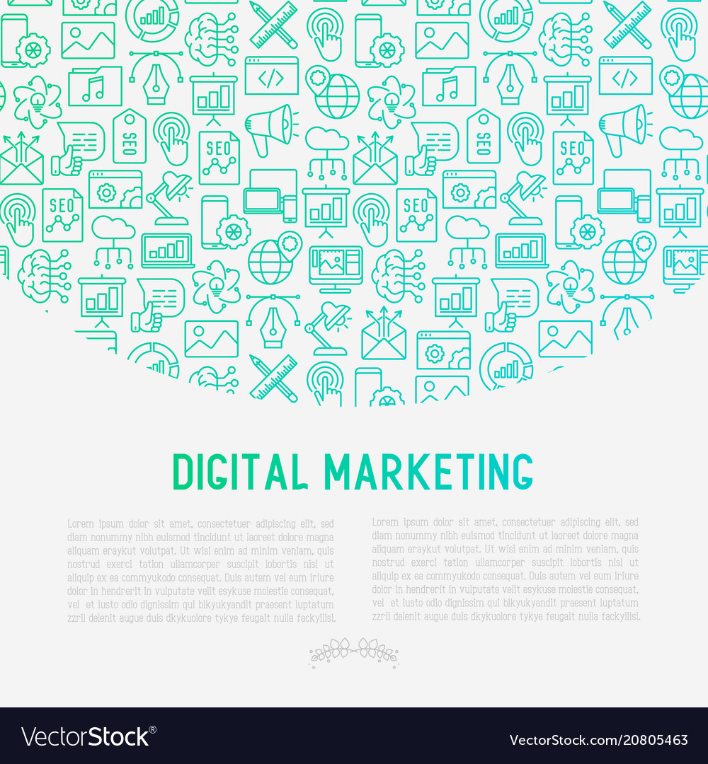 Digital marketing concept with thin line icons