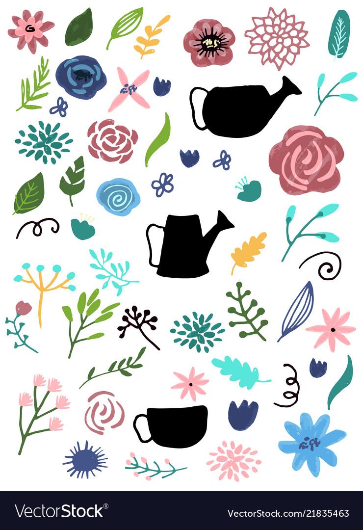 Flower graphic design set of floral