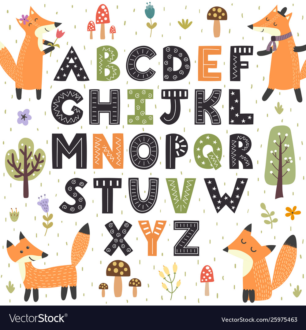 Forest alphabet with cute foxes hand drawn