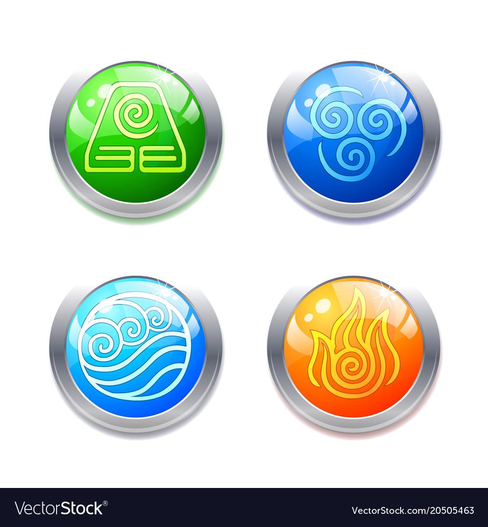 Four Elements Symbols And Alternative Energy Icons