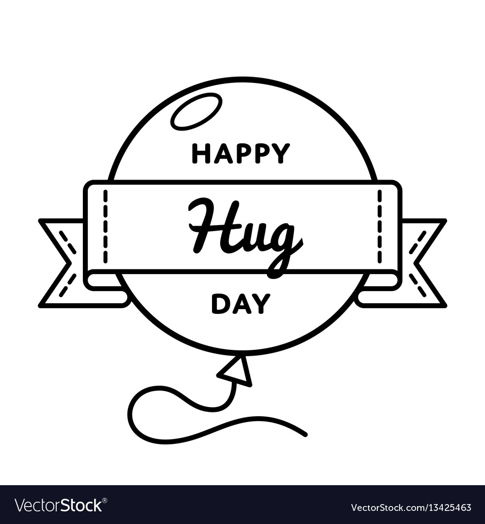 Happy Hug Day Greeting Emblem Royalty Free Vector Image