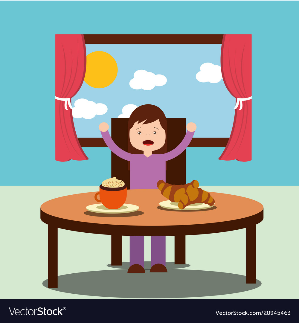 Little girl happy to eat breakfast in the morning Vector Image