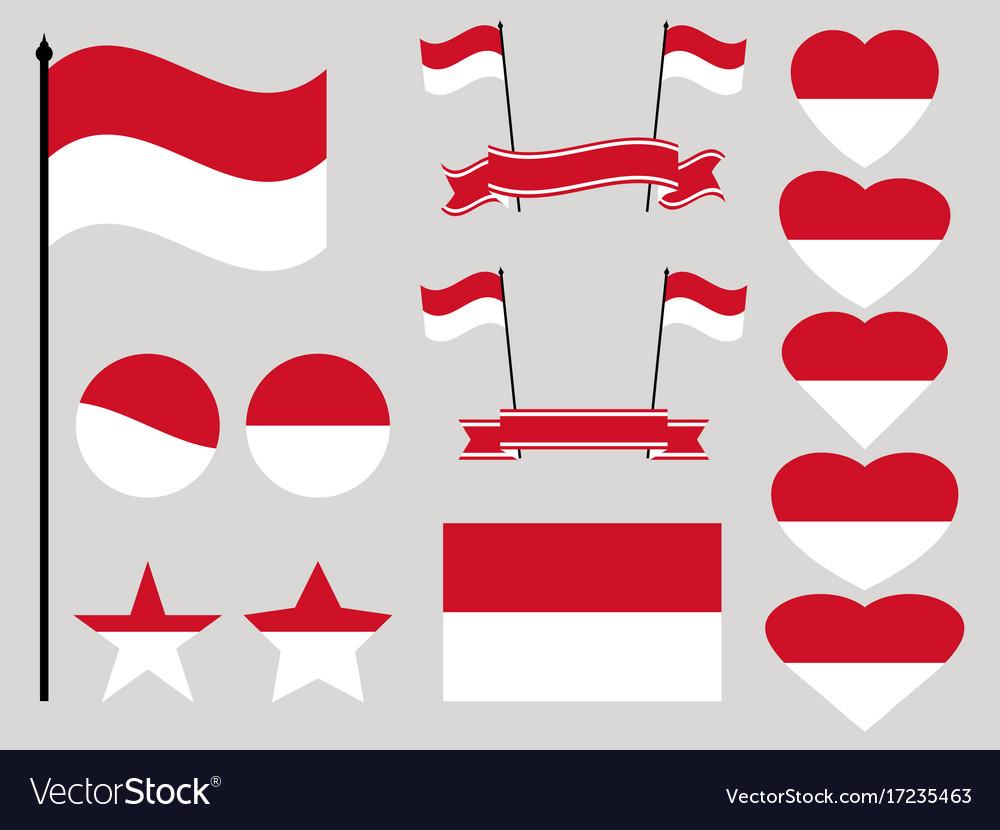Monaco flag set collection of symbols heart