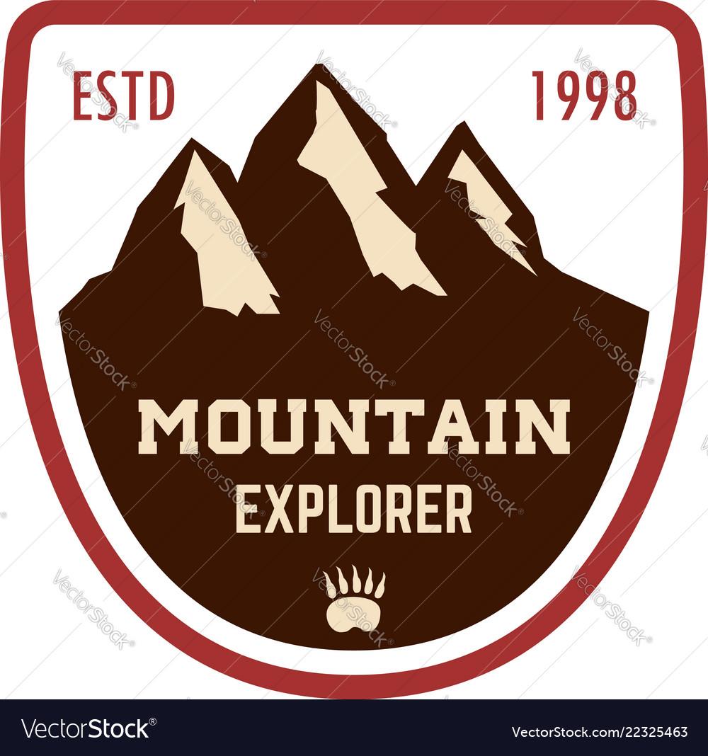 Mountain explorer emblem template with rock peak