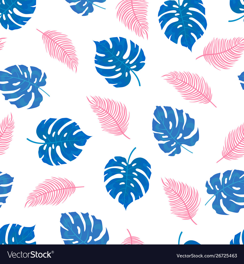 Pattern tropical leaves in blue and pink