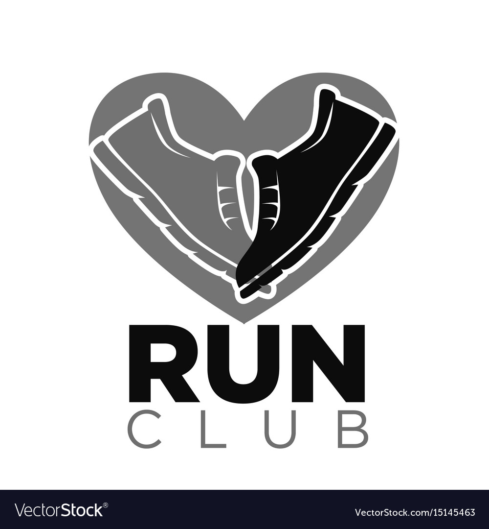 Private run club emblem with sneakers in heart
