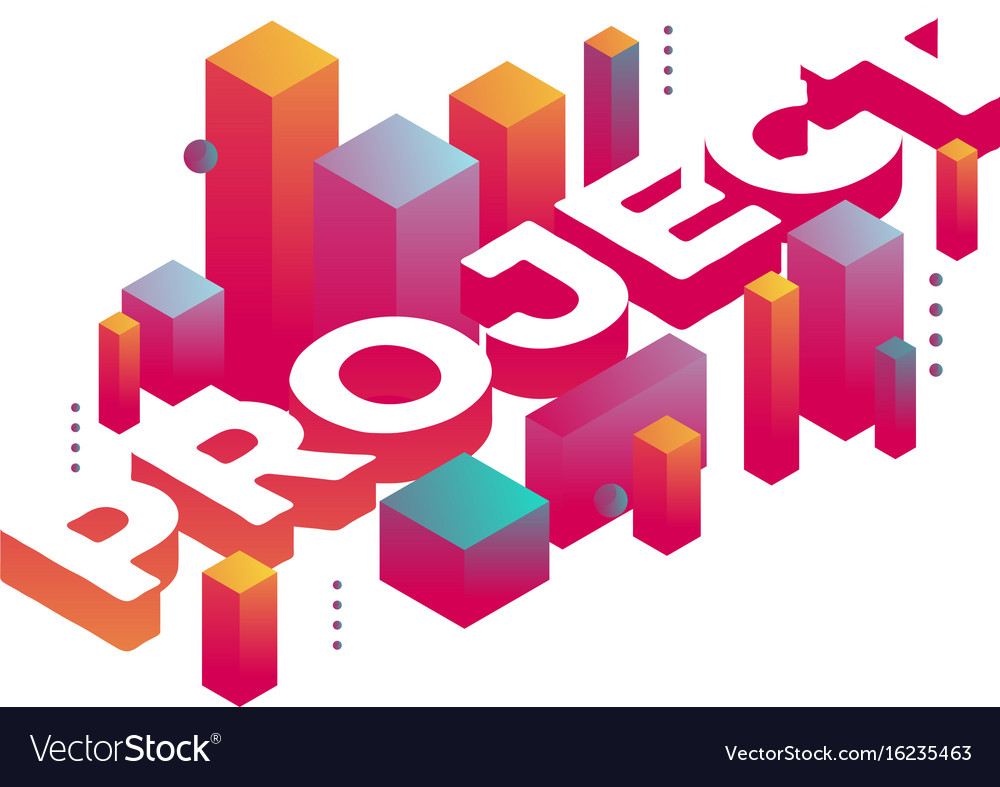 Three dimensional word project with abstract vector image