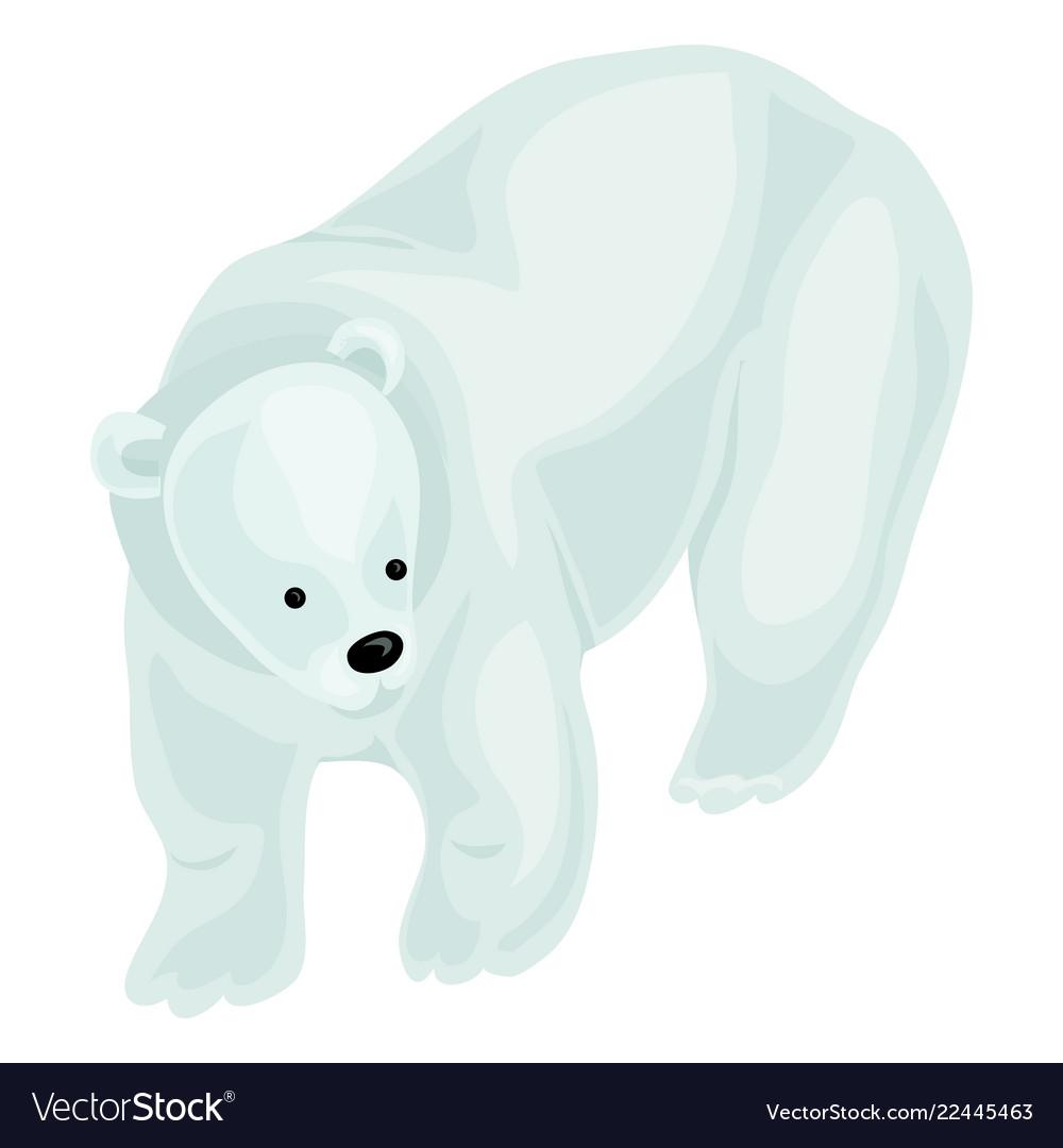 White bear icon cartoon style