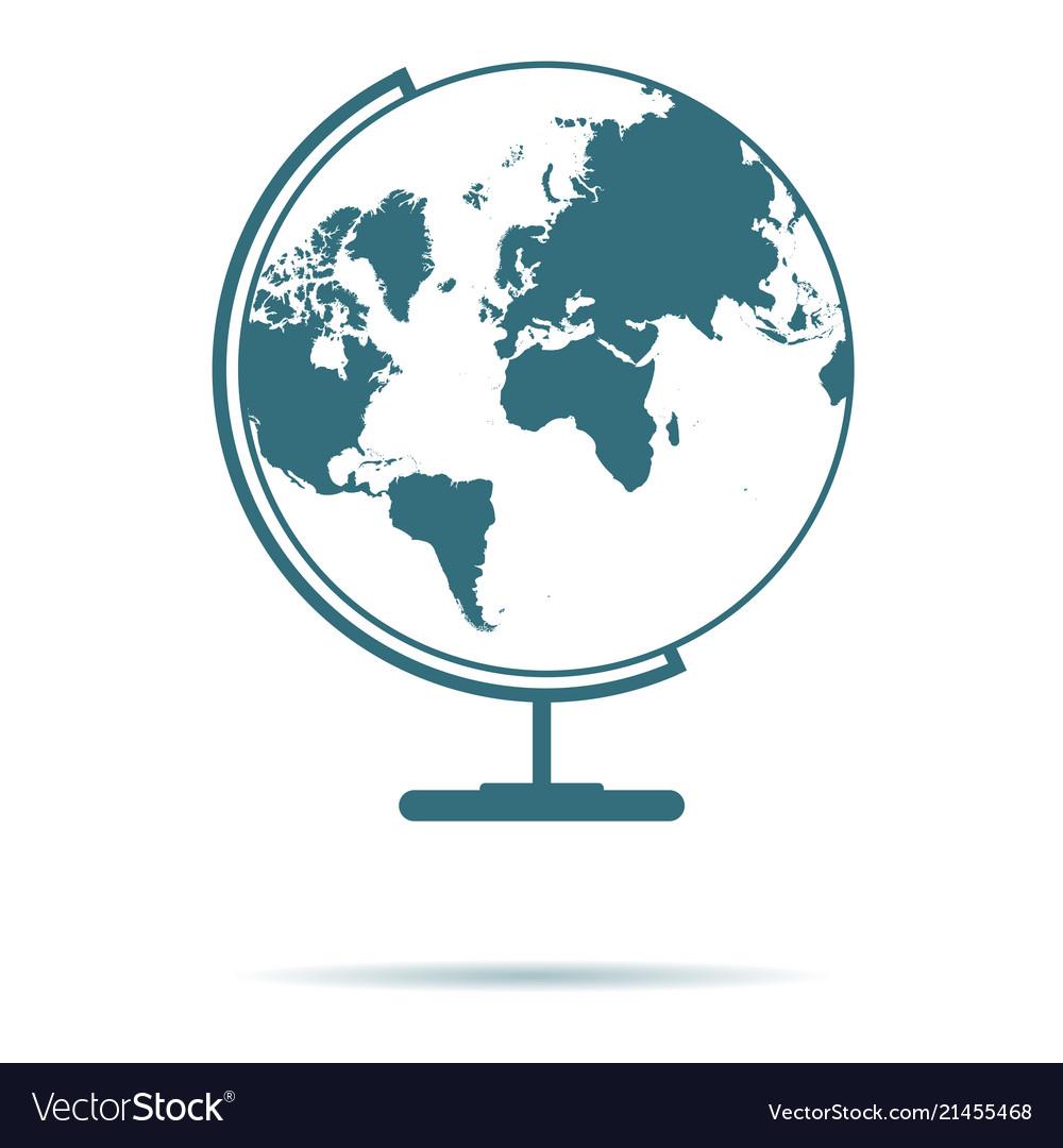 Blue globe map icon isolated on background modern