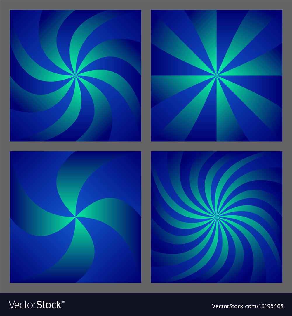 Blue spiral and ray burst background design set