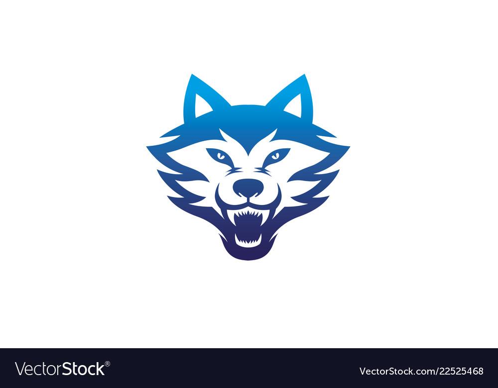 Creative angry blue wolf head logo