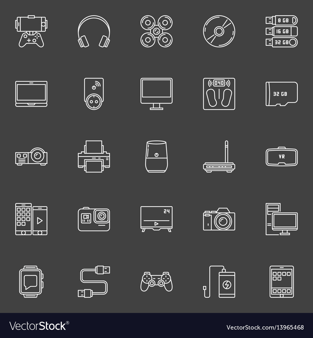 Electronic gadgets outline icons