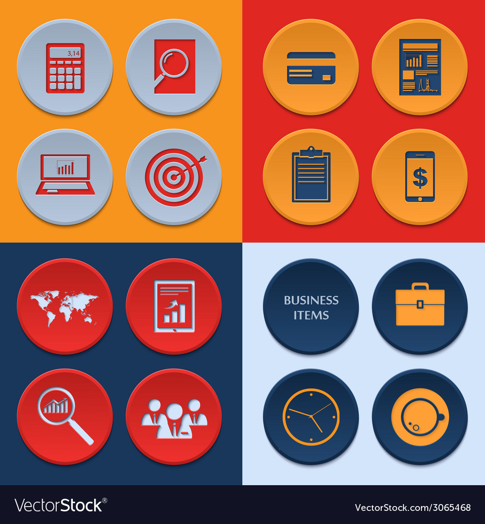 Flat icons of business workflow items and elements