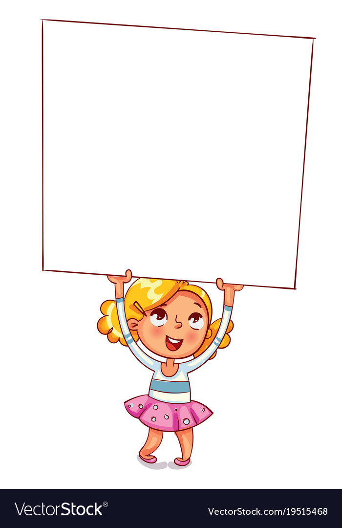 Girl raised a large advertising poster