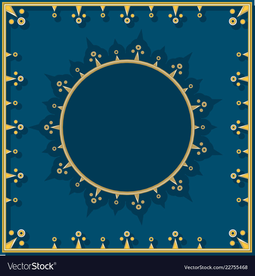 Golden pattern on blue in neoclassical style