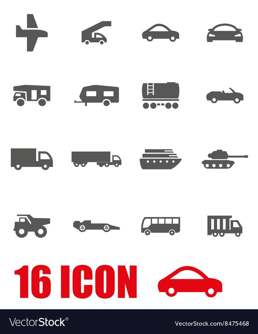 Grey vehicles icon set