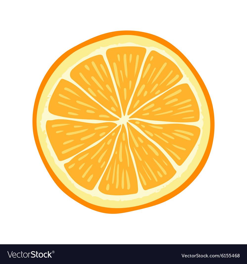Hand drawn cartoon orange slice