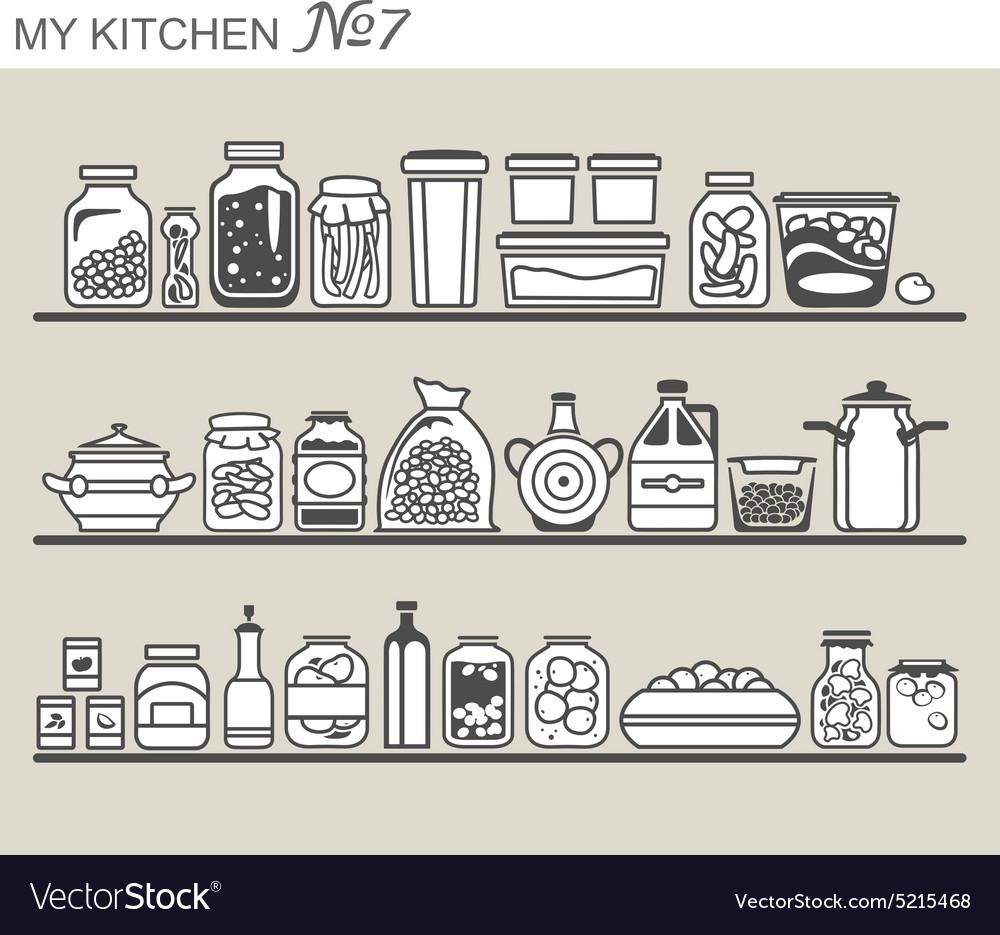 Kitchen utensils on shelves 7