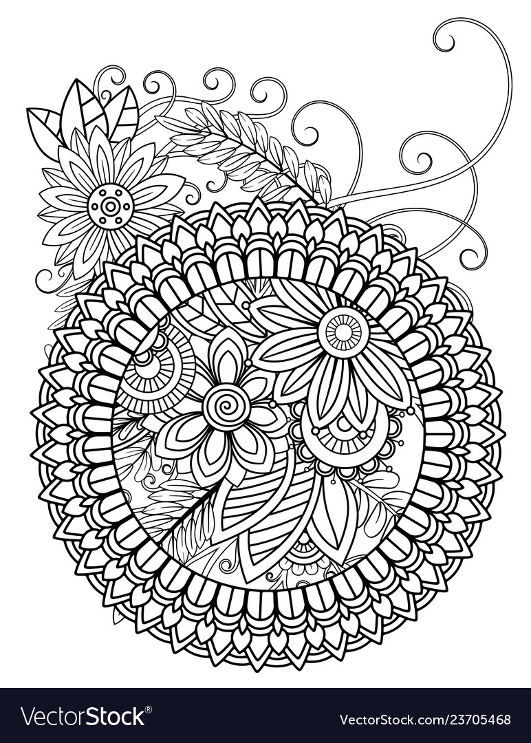 Mandala Adult Coloring Pages Royalty Free Vector Image