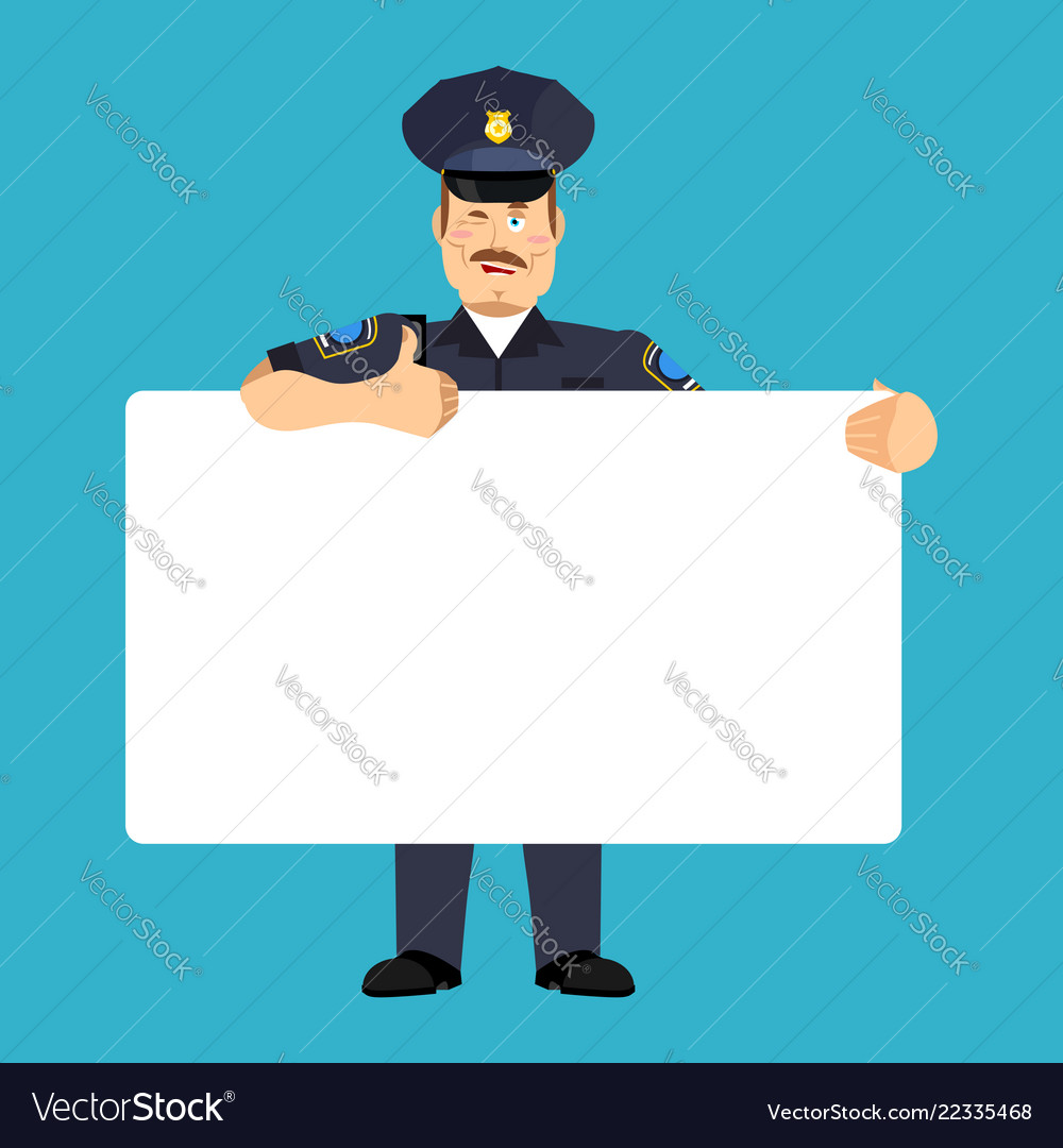 Policeman holding banner blank police officer and