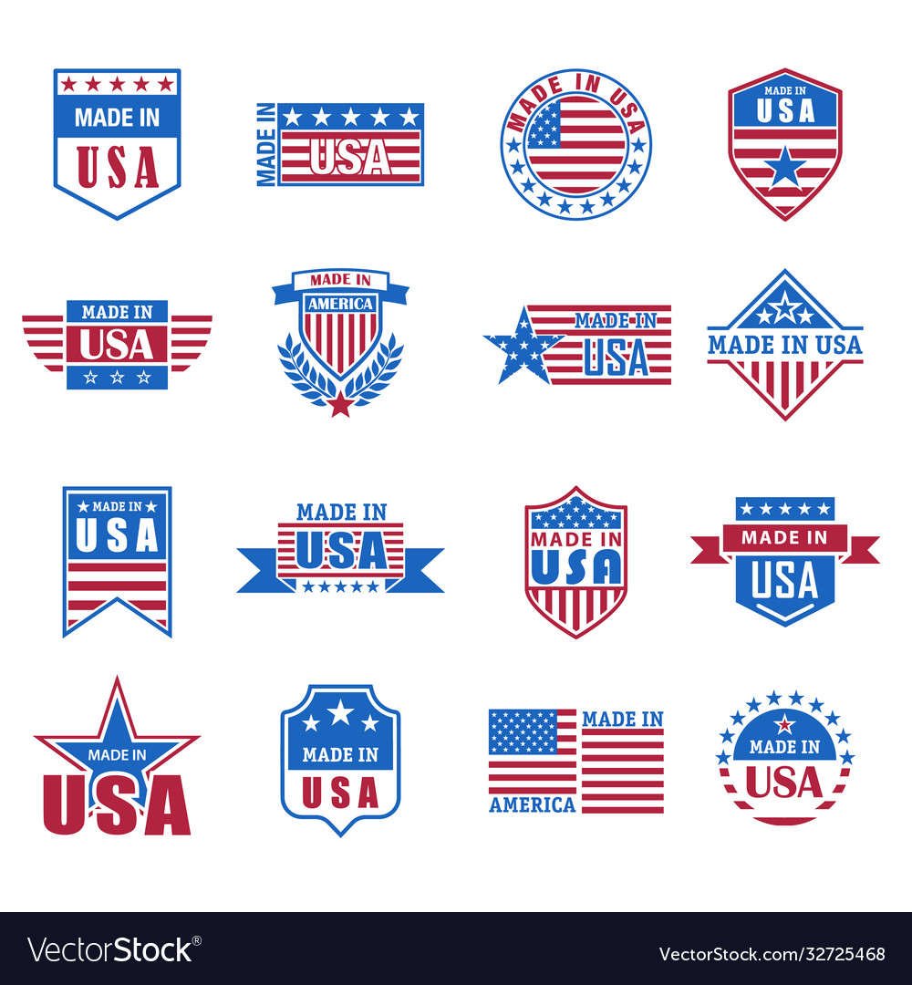 Set made in usa icon with flag and stars