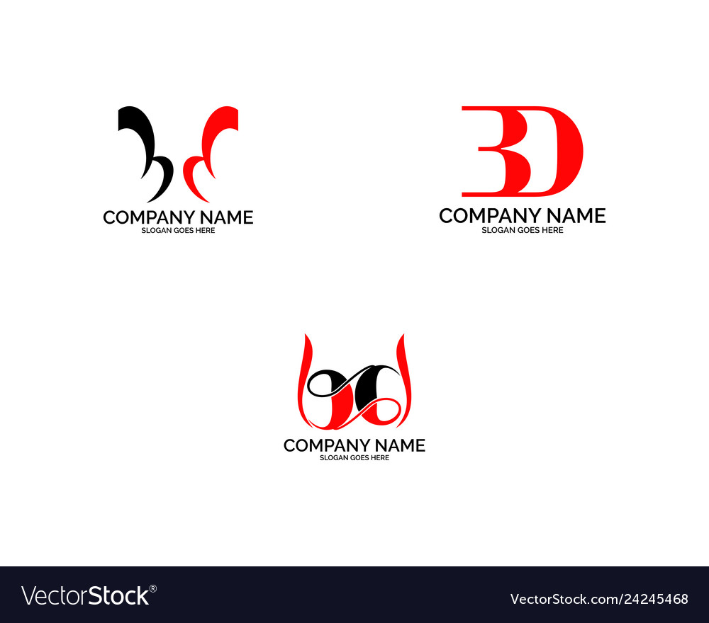 Set of bd logo letter design template element