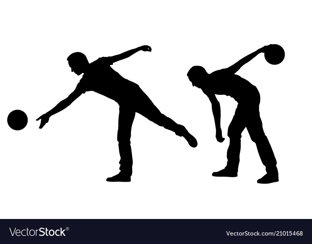 silhouettes of people bowling royalty free vector image