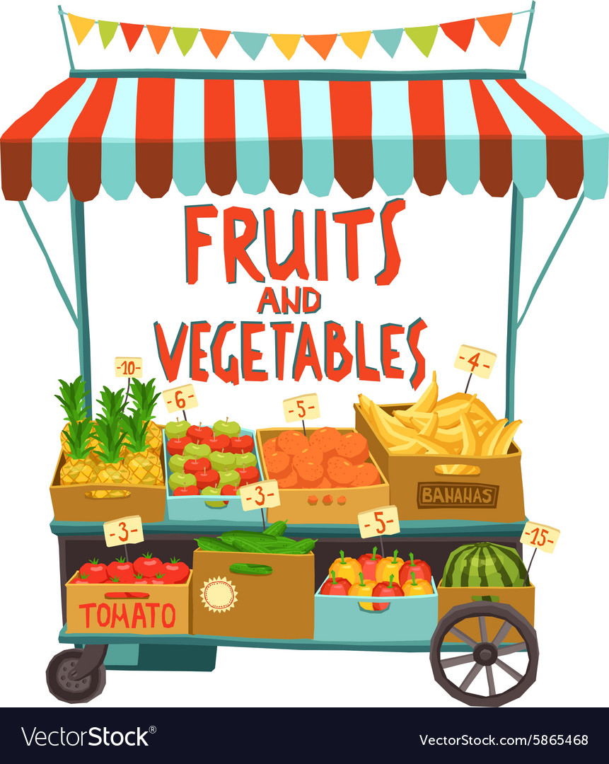 Street Cart With Fruits