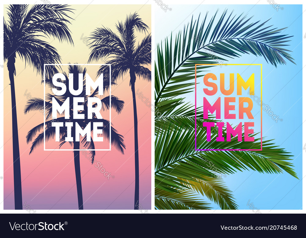 Summer tropical backgrounds set with palms sky