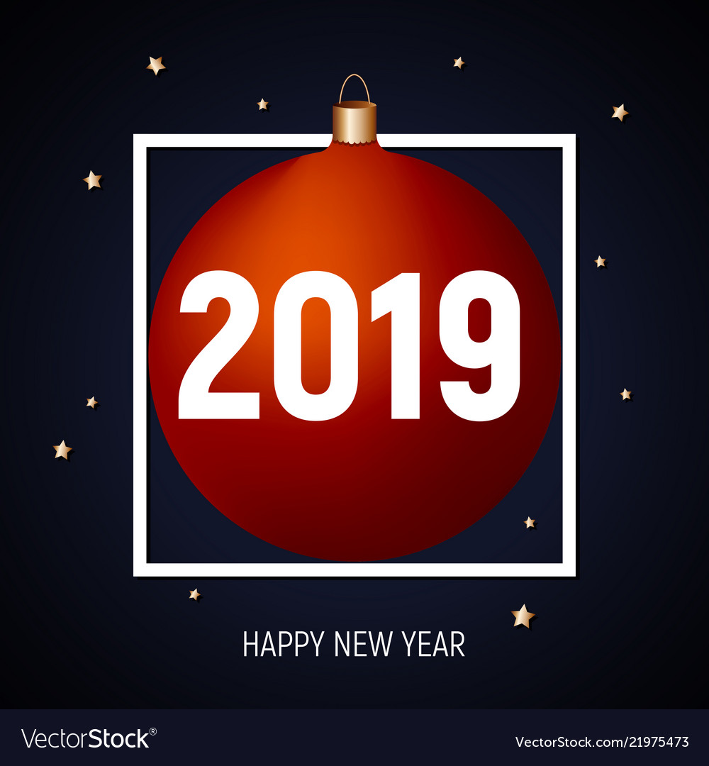 2019 happy new year red ball greeting card