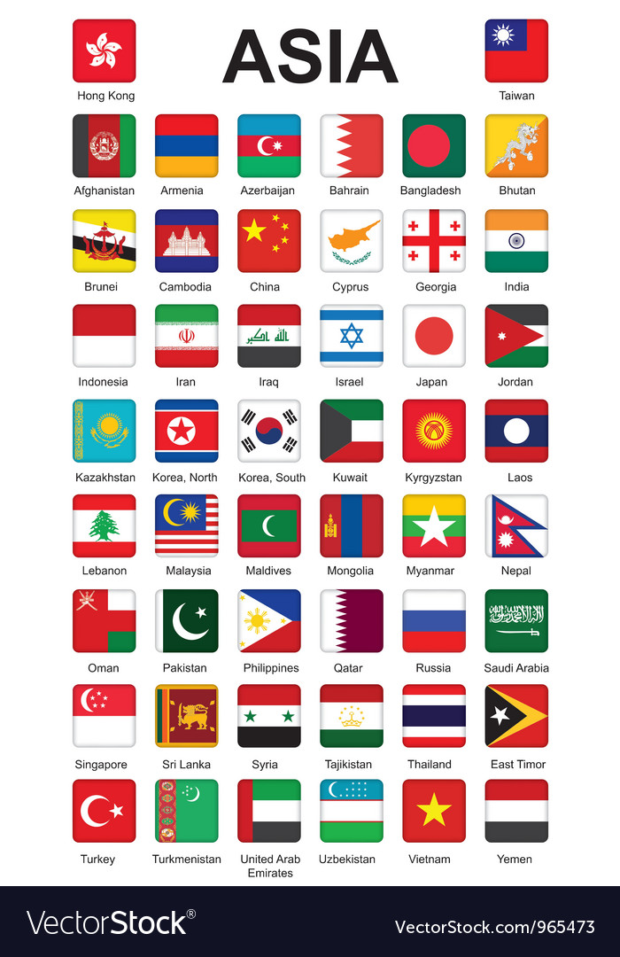 Asia flag buttons vector image