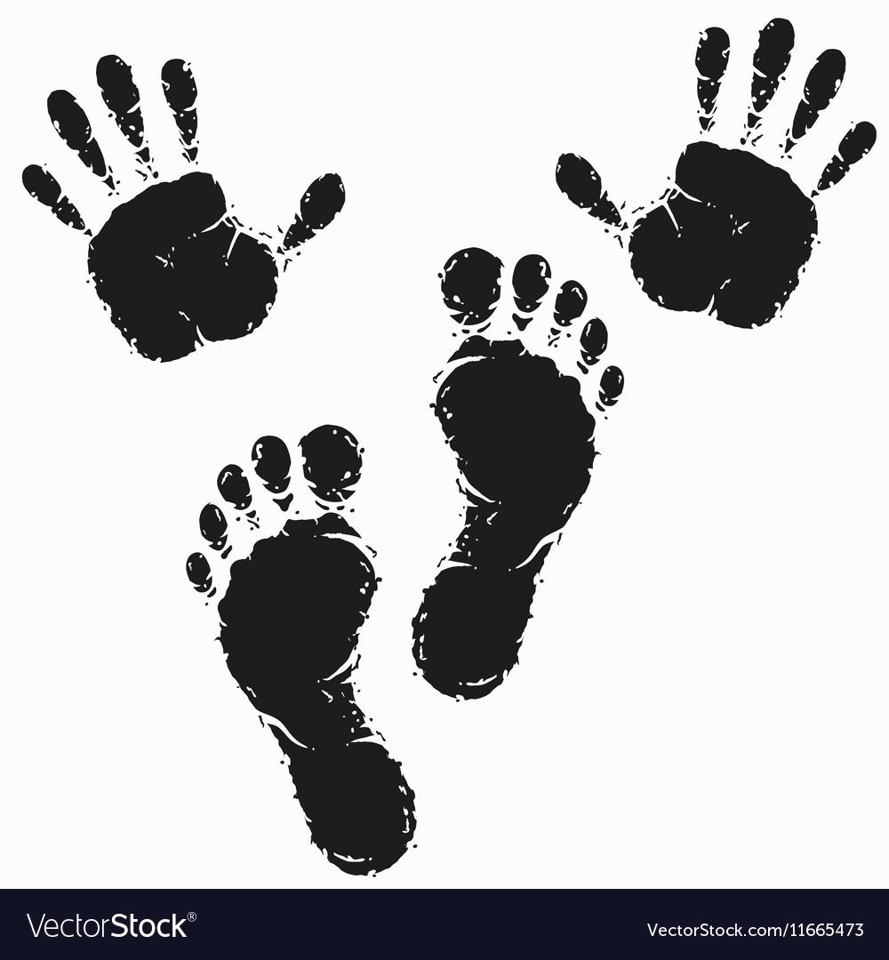Black footprint and hand print