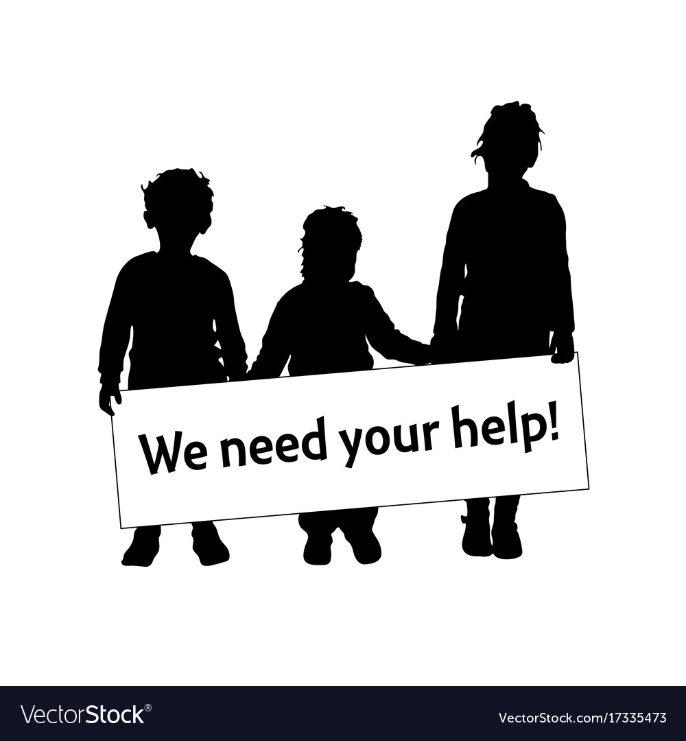 Children silhouette with card we need help