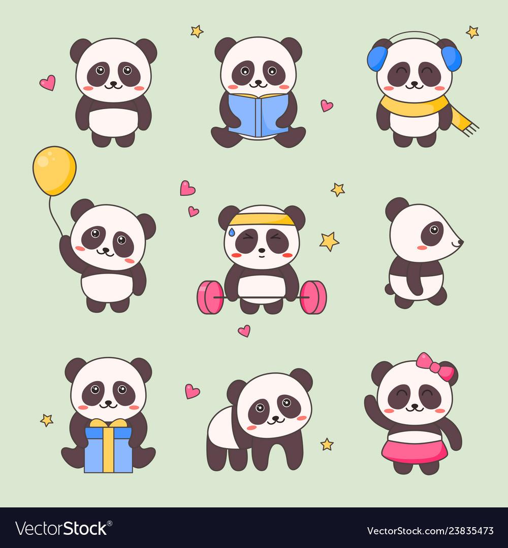 Cute panda kawaii character sticker set