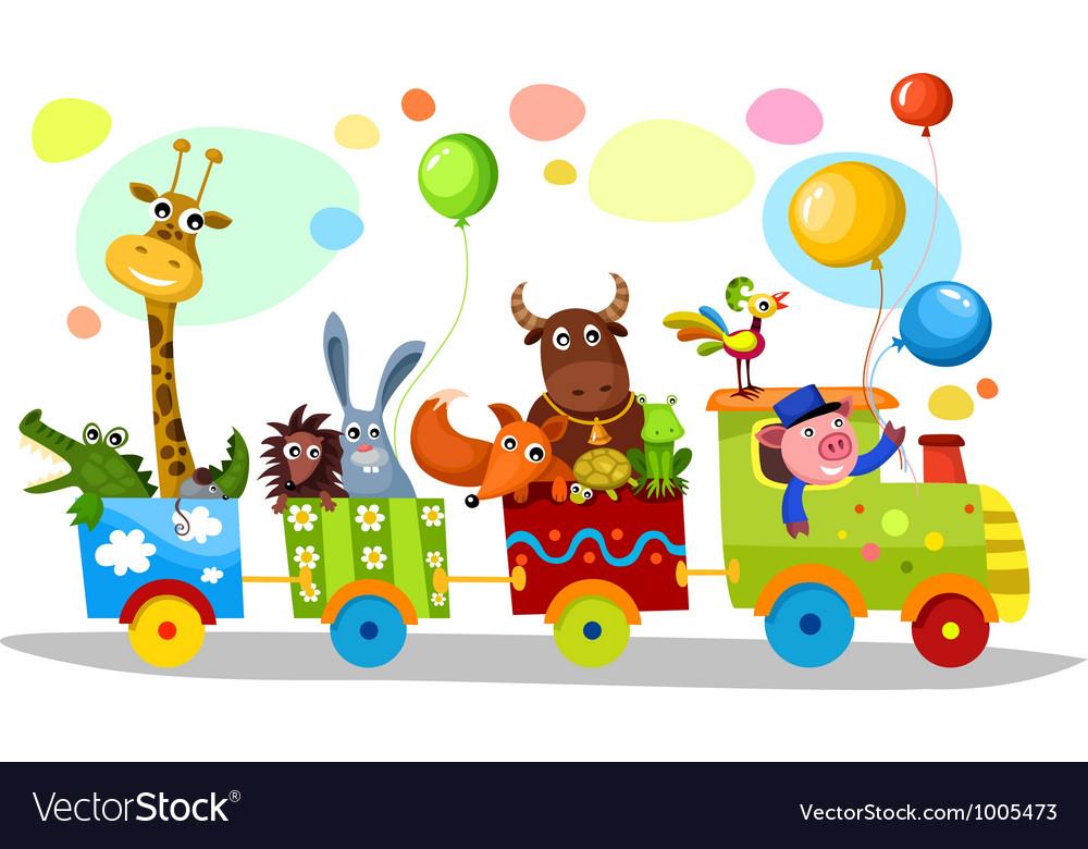 Cute train vector image