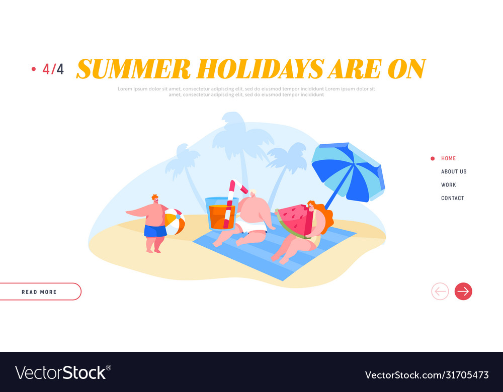 Family characters relaxing on beach landing page