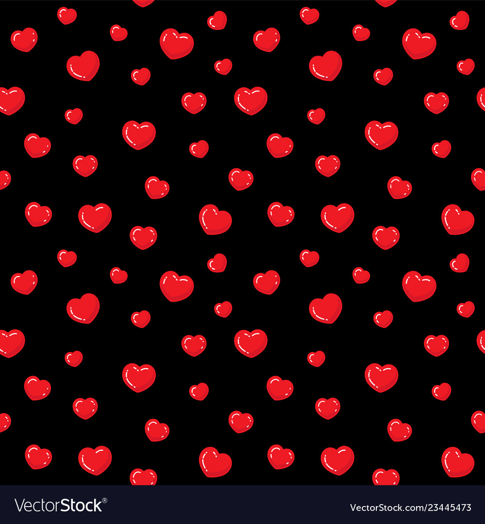 Flat hearts seamless pattern red and black