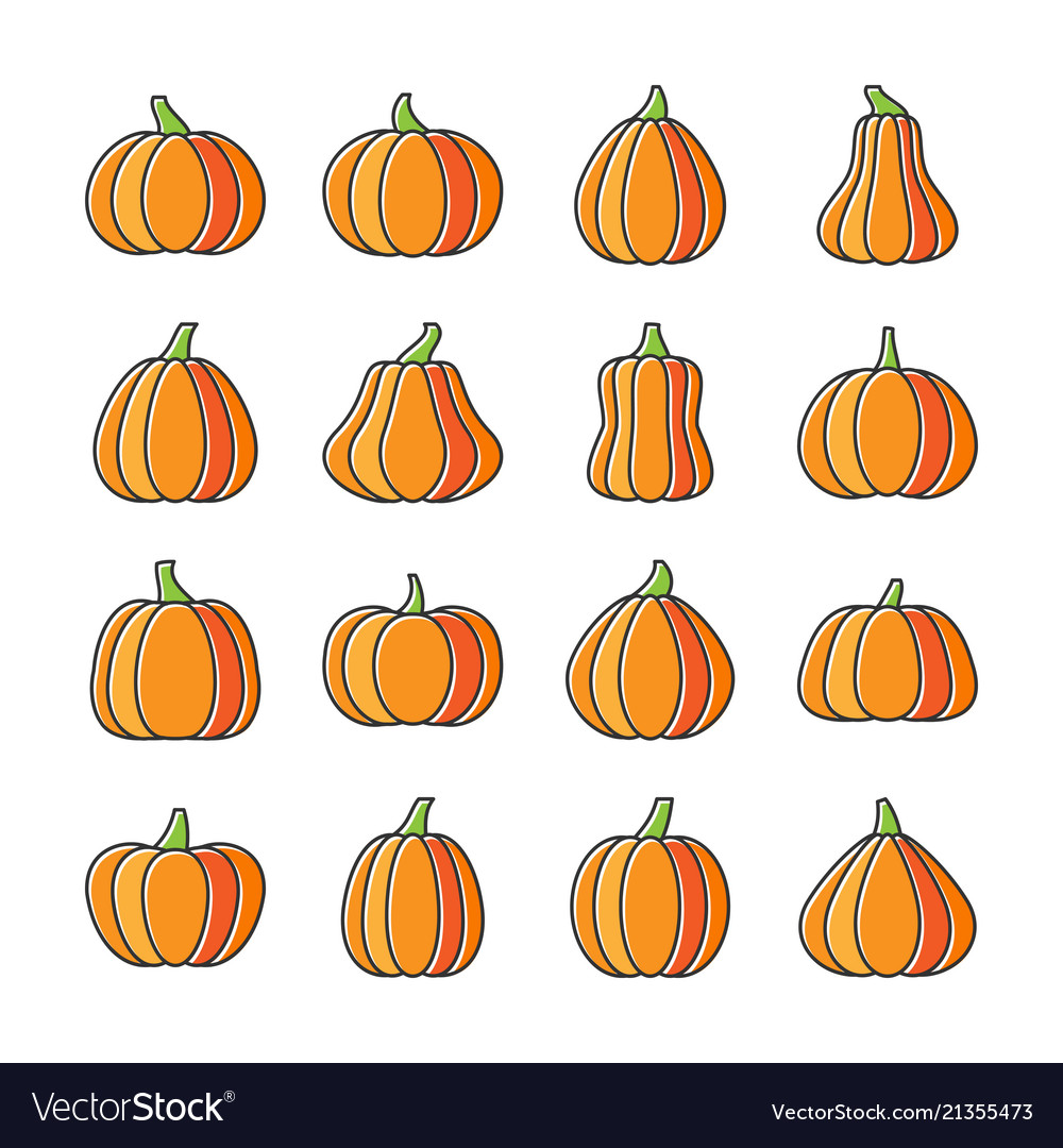Halloween pumpkin line icon set displaced fill