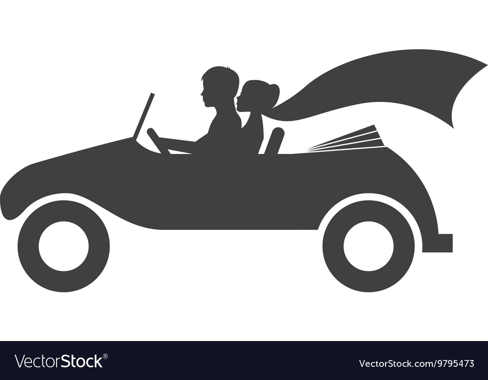 Married couple in car isolated icon design