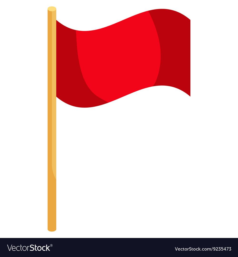 Red soccer corner flag icon cartoon style