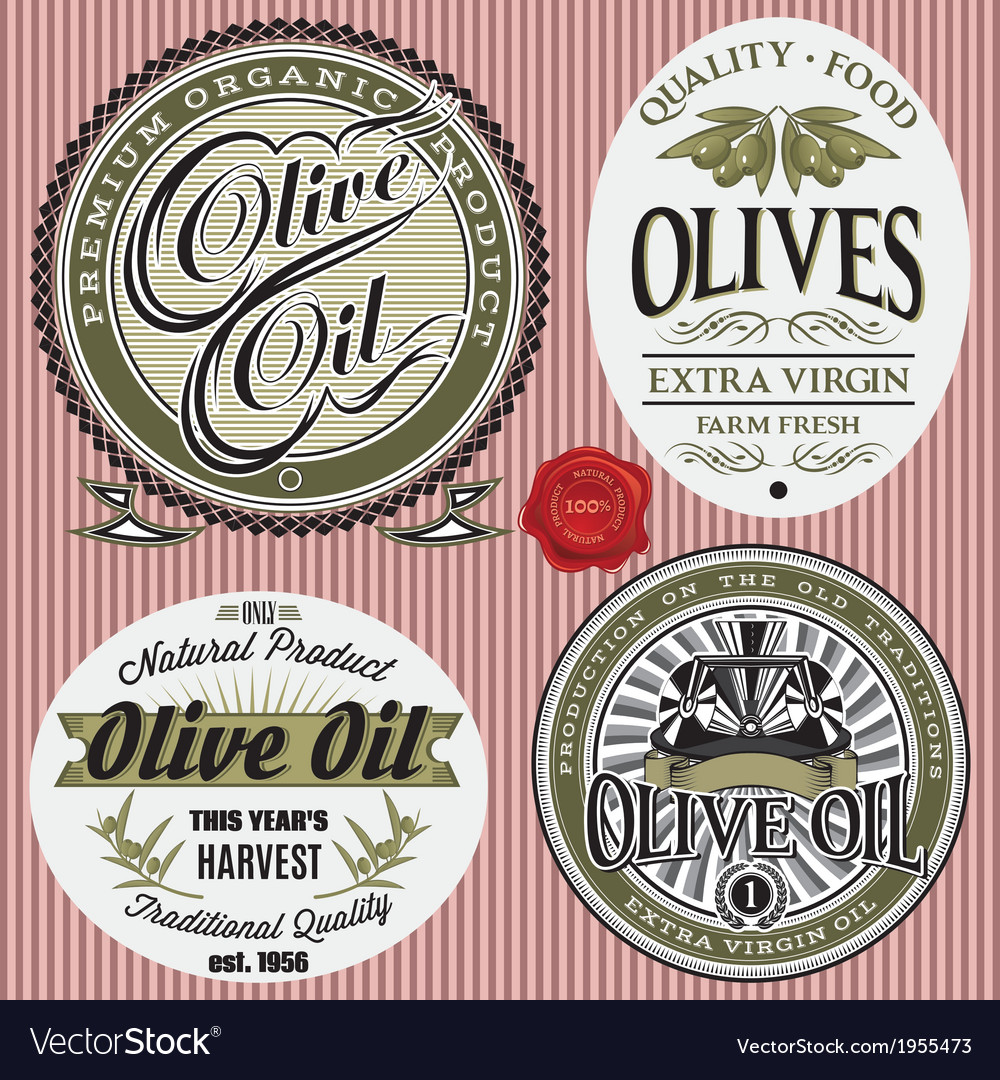 Set of labels for olives oil