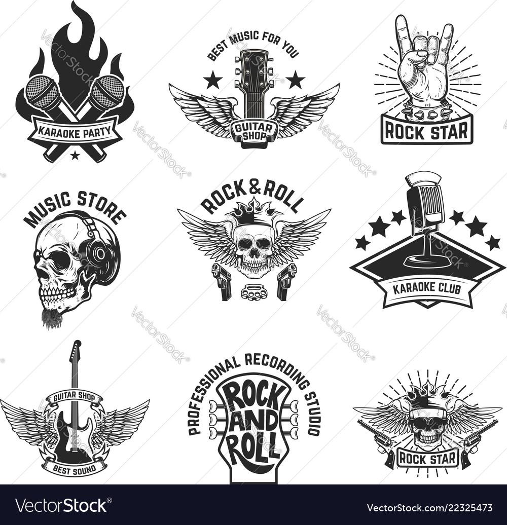 Set of rock music emblems isolated on white